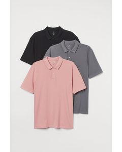3-pack Pikétröja Regular Fit Rosa/grå/svart