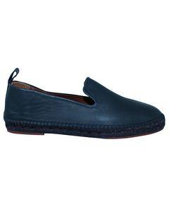 Navy Blue Leather Espadrilles
