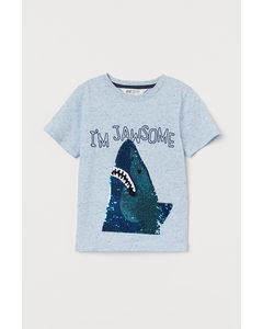 T-Shirt mit Wendepailletten Blaumeliert/Hai