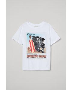 T-Shirt mit Wendepailletten Weiß/Hai