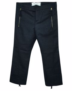Grey Wool Pants With Golden Zippers