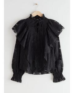 Ruffled Overlay Blouse Black