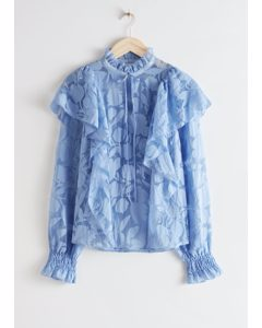 Ruffled Overlay Blouse Blue Florals