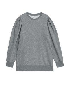 Puff Sleeve Sweatshirt Grey Melange