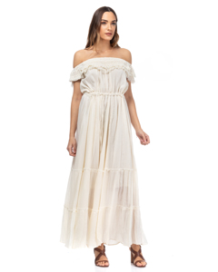 Long Dress With Elastic Boat Neck, Vainica Details And Elastic Waist