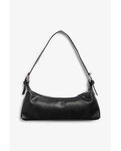 Handtasche mit zwei Schnallen Schwarz