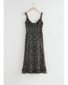 Frilled Crepe Chiffon Midi Dress Black Florals