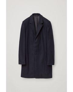 Wool Mix Mid-length Coat Navy