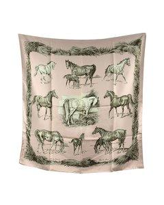 Hermes Vintage Pink Silk Scarf Les Poulains 1960 Xavier De Poret