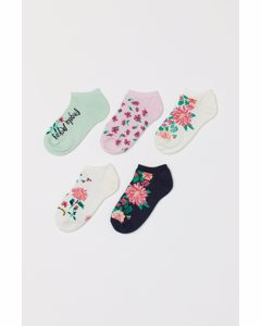 5 Paar Gebloemde Enkelsokken Wit/bloemen