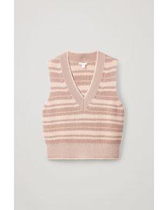 Striped V-neck Vest Orange / Beige