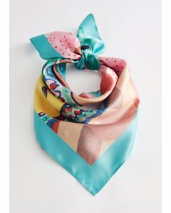Abstract Painted Print Scarf Multi