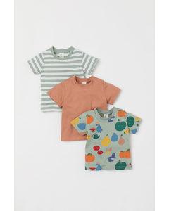 Set Van 3 Katoenen T-shirts Lichtgroen/fruit