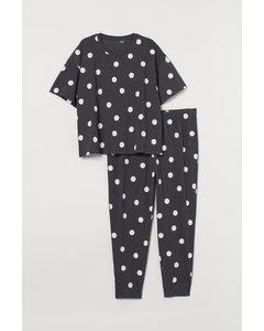 H&M+ Jersey-Schlafanzug Dunkelgraumeliert/Gepunktet
