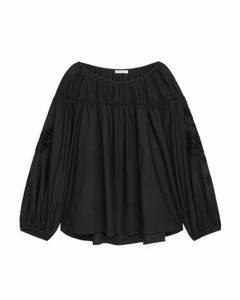 Ruched Broderie Anglaise Blouse Black