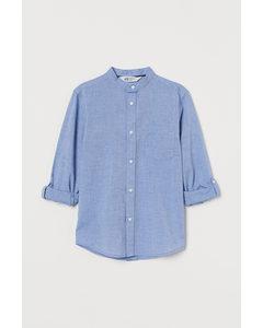 Stehkragenhemd Hellblau