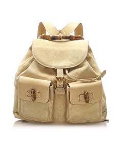 Gucci Bamboo Drawstring Suede Backpack Brown