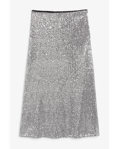 High-waist Midi Skirt Silver-coloured Sequins