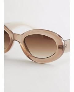 Almond Rounded Frame Sunglasses Beige
