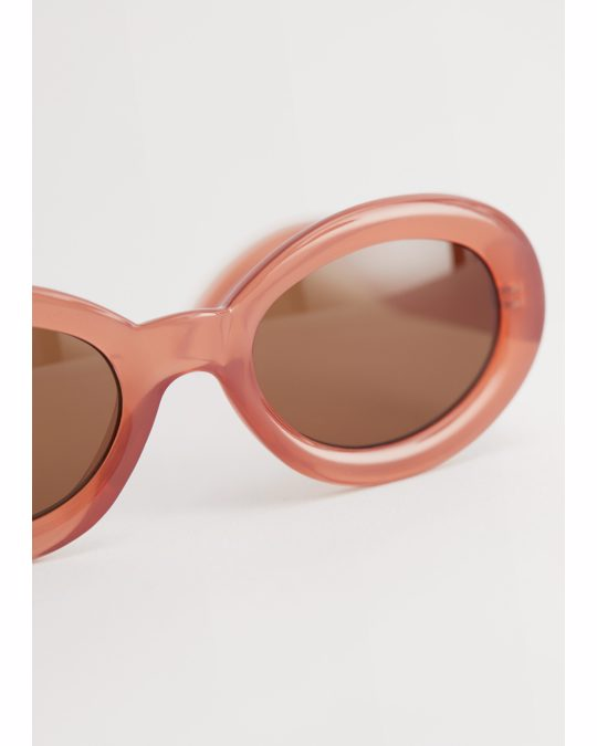 & Other Stories Almond Rounded Frame Sunglasses Light Pink