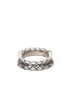 Bottega Veneta Intrecciato Concave Ring Silver