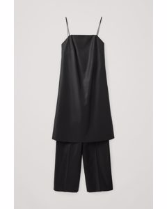 Layered Wool Jumpsuit Black