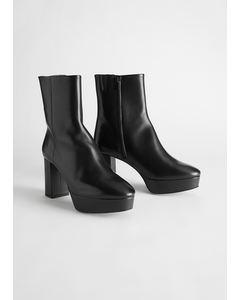 Leather Platform Heeled Ankle Boots Black