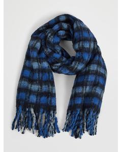CHECKED COTTON-WOOL-ALPACA SCARF blue / black / white