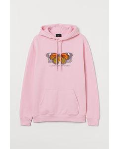 Huvtröja Ljusrosa/fjäril