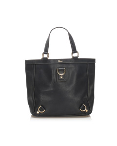 Gucci Abbey-d Ring Leather Tote Bag Black