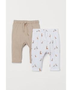 2er-Pack Jerseyhosen Beige/Giraffen