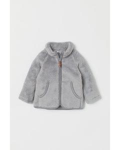 Faux Shearling Jacket Light Grey