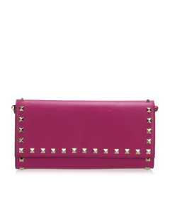 Valentino Rockstud Leather Wallet On Strap Pink