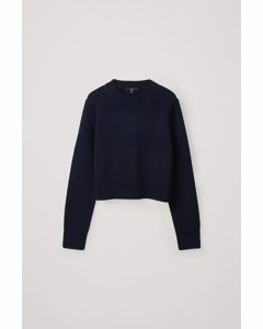 Cropped Knitted Top Navy
