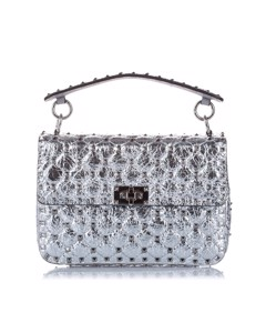 Valentino Medium Rockstud Spike Leather Satchel Silver