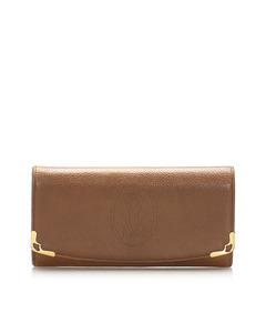 Cartier Must De Cartier Leather Long Wallet Brown