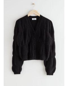 Fuzzy Wool Blend Cocoon Cardigan Black