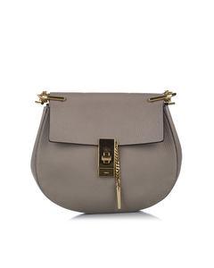 Chloe Drew Leather Crossbody Bag Gray