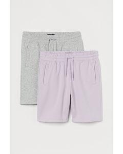 2-pack Sweatshorts Regular Fit Ljuslila/gråmelerad