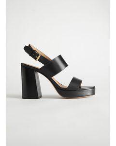 Leather Block Heeled Platform Sandals Black