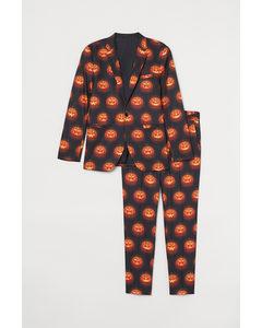 Kostuum Met Dessin Zwart/pompoenlantaarns