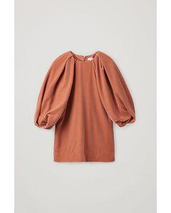 Velvet Puff-sleeved Top Brown