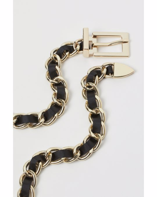 H&M Metal Chain Belt Gold-coloured/black