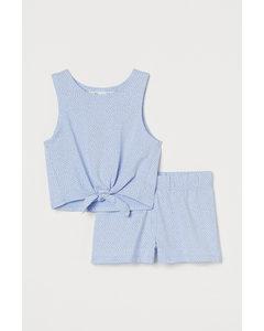 2-teiliges Baumwollset Hellblau/Herzen