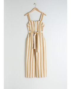 Cotton Linen Striped Jumpsuit Stripe