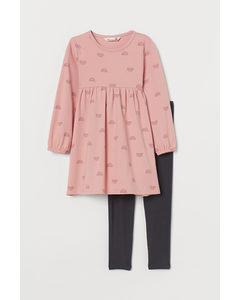 2-teiliges Baumwollset Hellrosa/Regenbögen