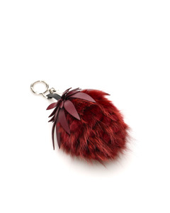 Fendi Fur Pom-pom Key Chain Red