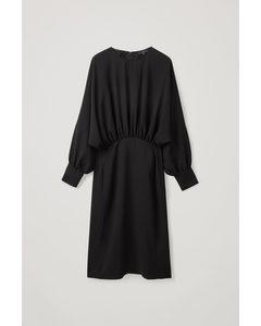 Gathered Midi Dress Black