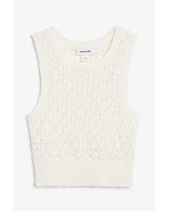 Crochet Knit Vest White