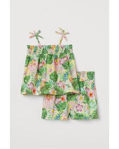 2-teiliges Set Hellgelb/Tropische Blumen